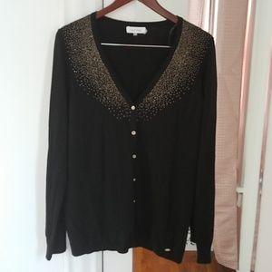 Calvin Klein Women's black and gold cardigan